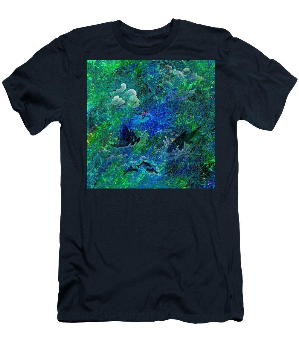 Seascape Men's T-Shirt (Athletic Fit) featuring the digital art Sailing The Seven Seas by Rachel Christine Nowicki