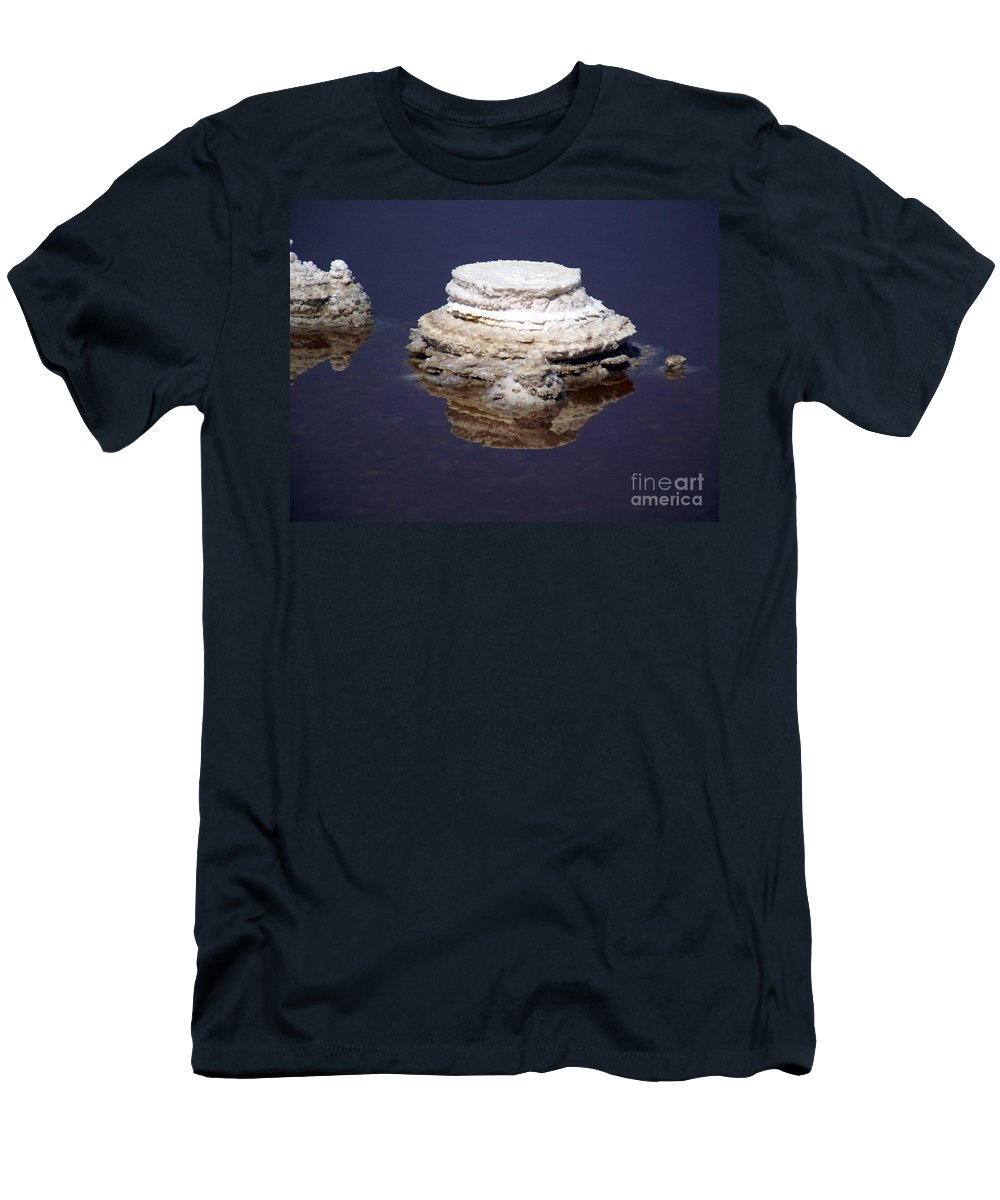 Salt; Formation Men's T-Shirt (Athletic Fit) featuring the photograph salt cristal at the Dead Sea Israel by Avi Horovitz