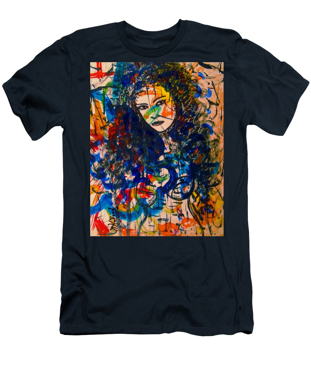 Mixed Medium Pantings Men's T-Shirt (Athletic Fit) featuring the painting Samanthaa by Natalie Holland