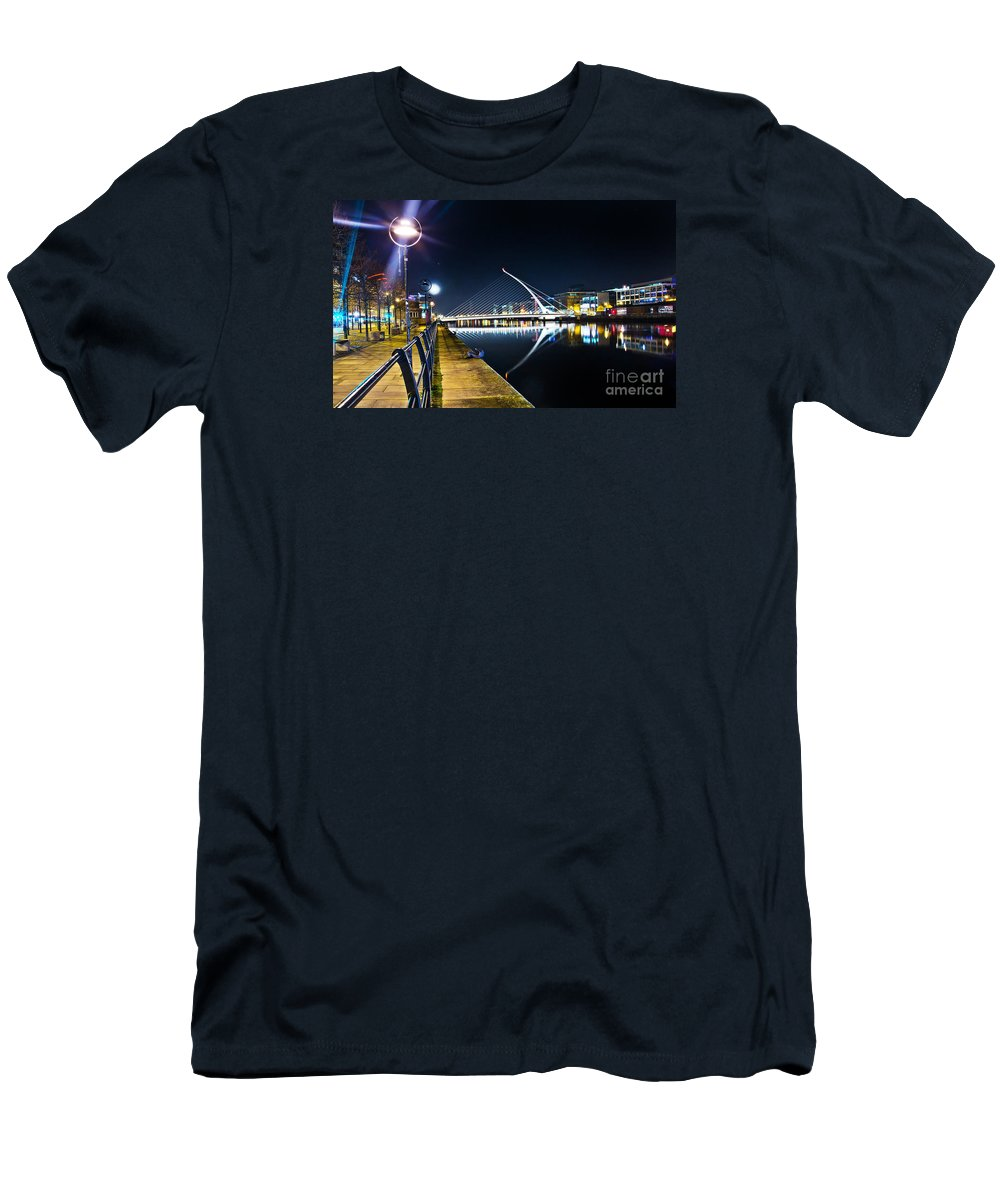Samuel Beckett Bridge Men's T-Shirt (Athletic Fit) featuring the photograph Samuel Beckett Bridge 2 by Alex Art and Photo