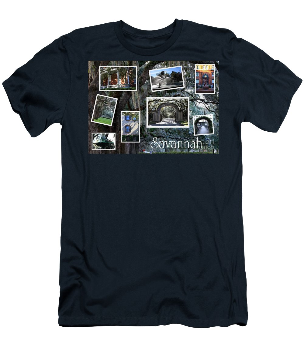 Savannah Cityscape Men's T-Shirt (Athletic Fit) featuring the photograph Savannah Scenes Collage by Carol Groenen