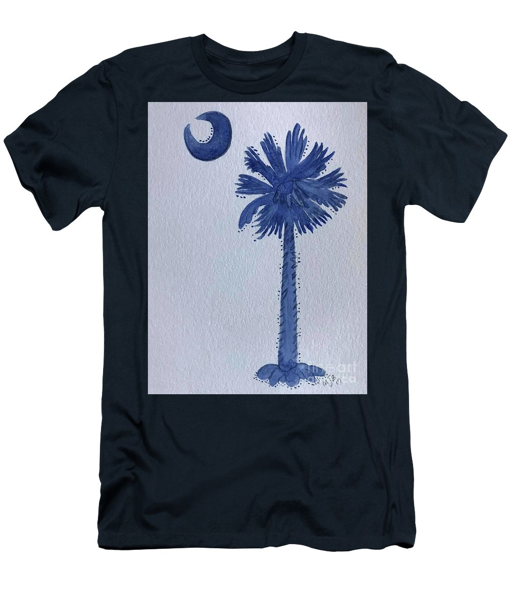 Men's T-Shirt (Athletic Fit) featuring the painting Sc Palmetto And Crescent by Mitzi Bennett