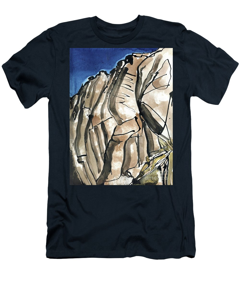 Scafell Crag 2 - English Lake District - Watercolour Original - Fine Art - Mountain Scenery - Landscape Painting -elizabethafox Men's T-Shirt (Athletic Fit) featuring the painting Scafell Crag 2 by Elizabetha Fox