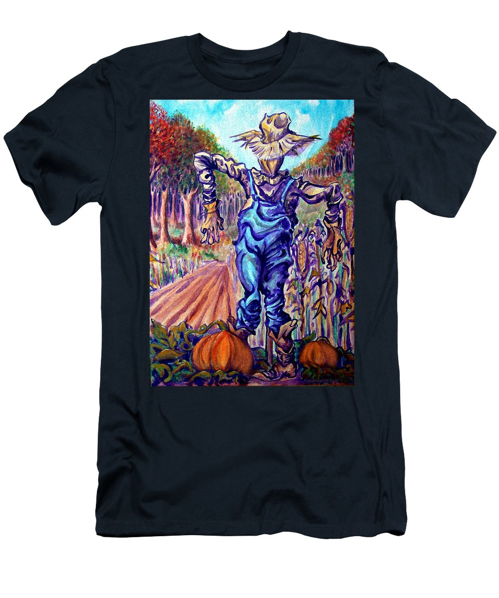 Scarecrow Men's T-Shirt (Athletic Fit) featuring the painting Scarecrow by Kevin Middleton
