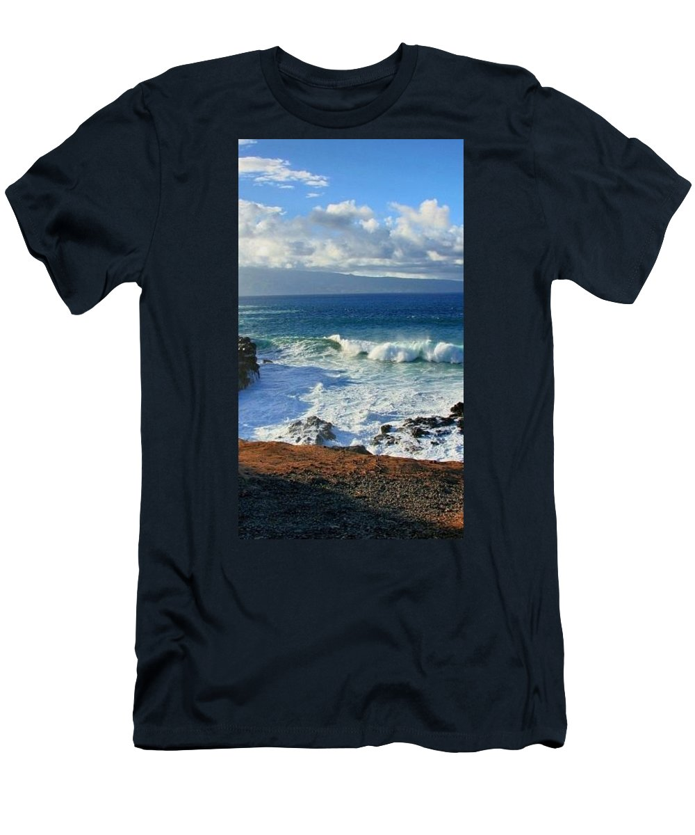 Sea Wave Surf Clouds Coast 30x3 Men's T-Shirt (Athletic Fit) featuring the digital art Sea Wave Surf Clouds Coast 46713 300x532 by Rose Lynn
