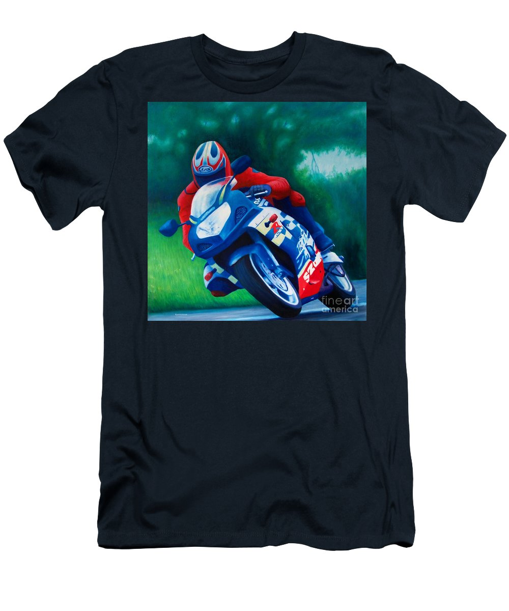 Motorcycles Men's T-Shirt (Athletic Fit) featuring the painting Second Gear - Suzuki Gsx600 by Brian Commerford