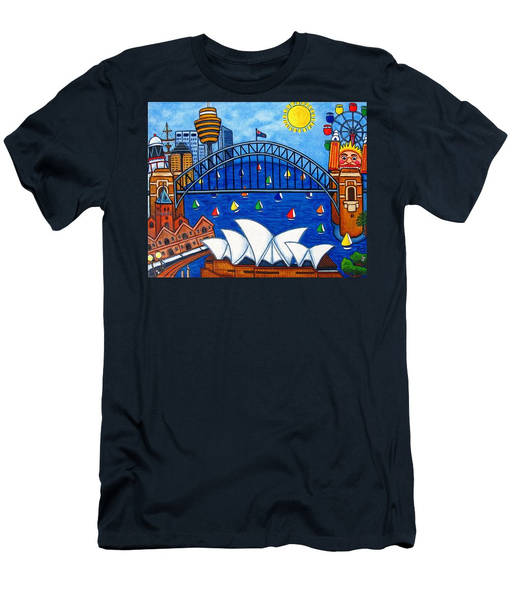 House Men's T-Shirt (Athletic Fit) featuring the painting Sensational Sydney by Lisa Lorenz