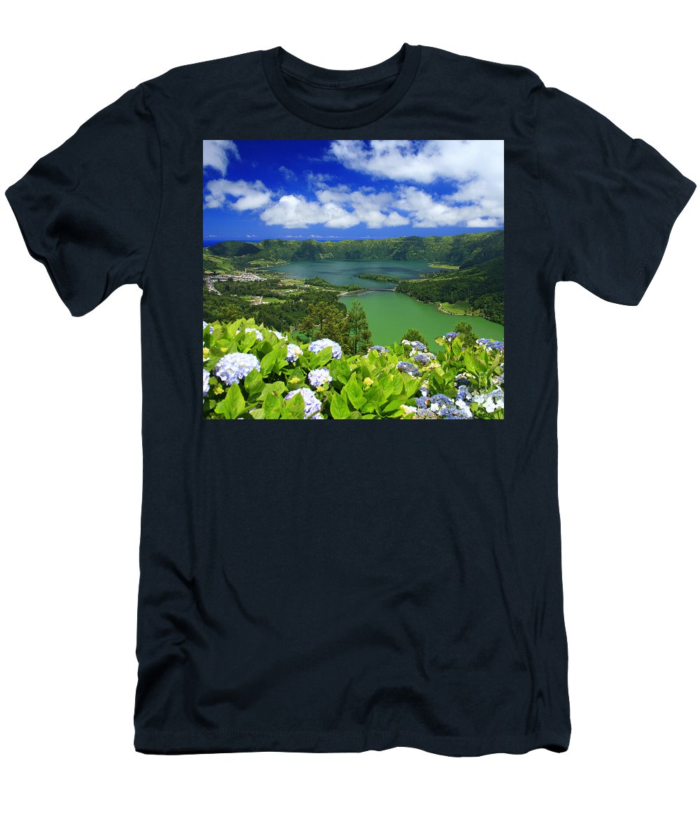 Sete Cidades Men's T-Shirt (Athletic Fit) featuring the photograph Sete Cidades Crater by Gaspar Avila