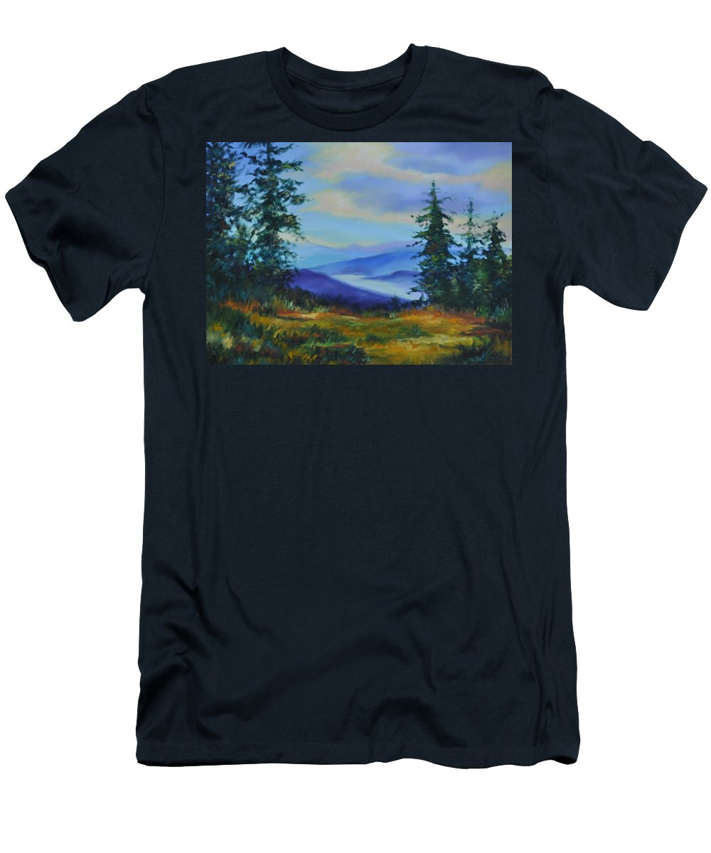 Alaska Mountains Men's T-Shirt (Athletic Fit) featuring the painting Seven Mile Saddle by Ginger Concepcion
