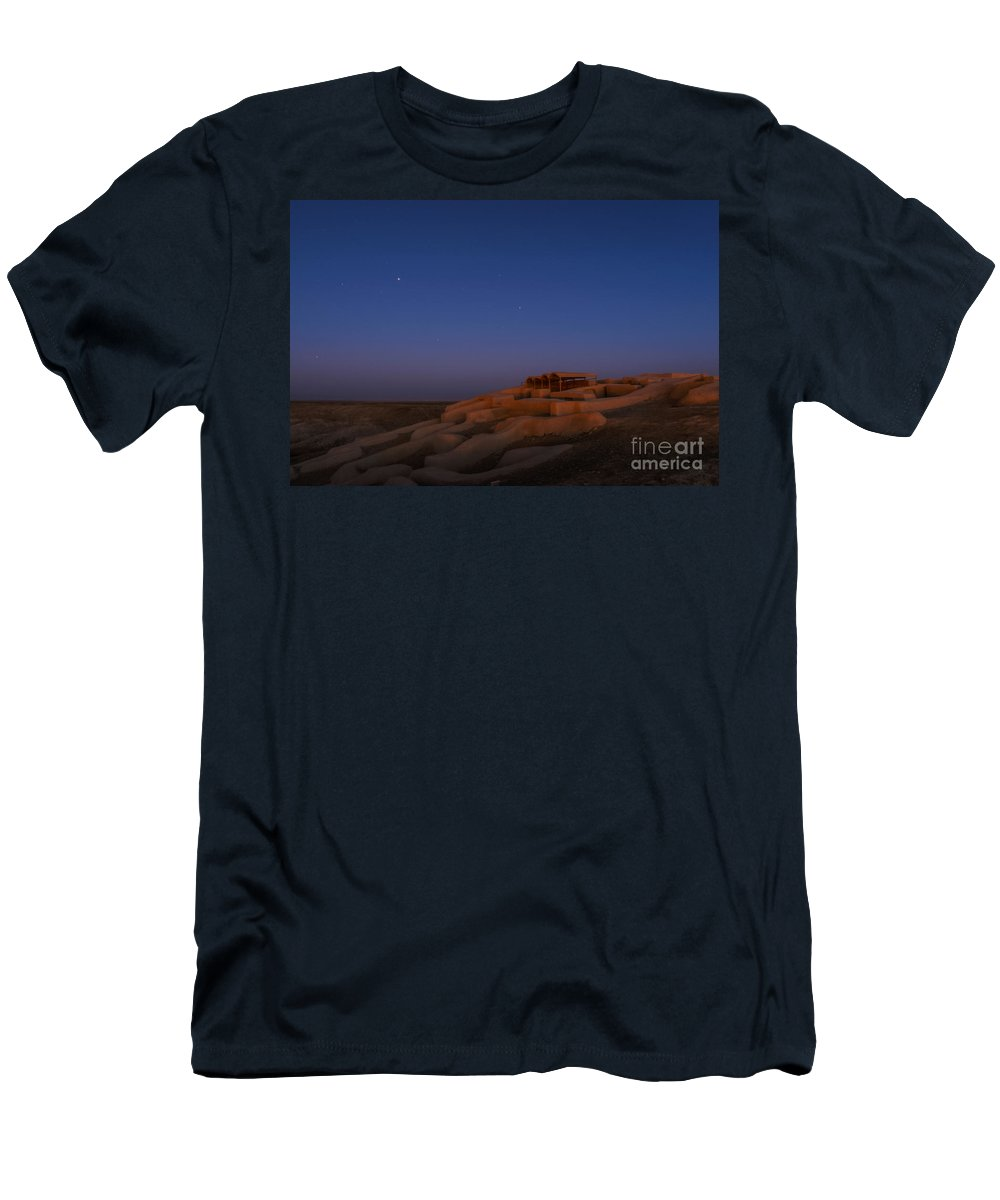 Science Men's T-Shirt (Athletic Fit) featuring the photograph Shahr-e Sukhteh, Iran, At Twilight by Babak Tafreshi