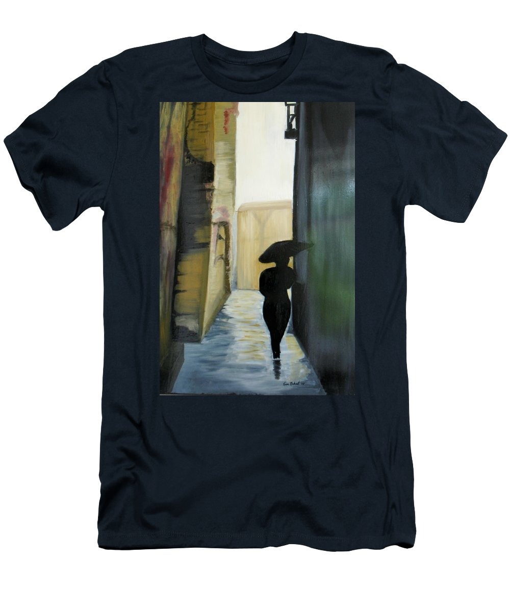 Woman Walking Men's T-Shirt (Athletic Fit) featuring the painting She Walks by Kim Rahal