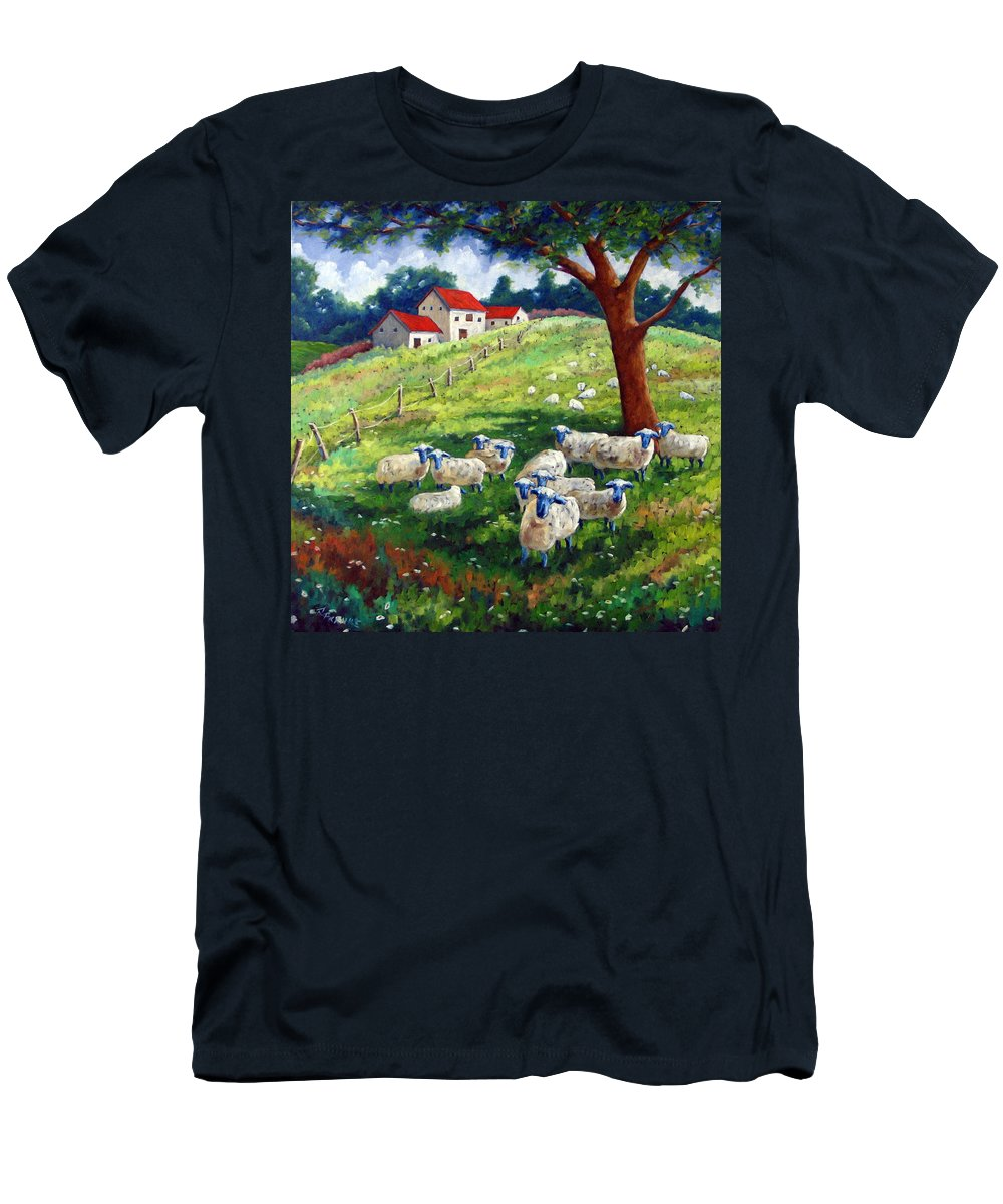 Sheep Men's T-Shirt (Athletic Fit) featuring the painting Sheeps In A Field by Richard T Pranke