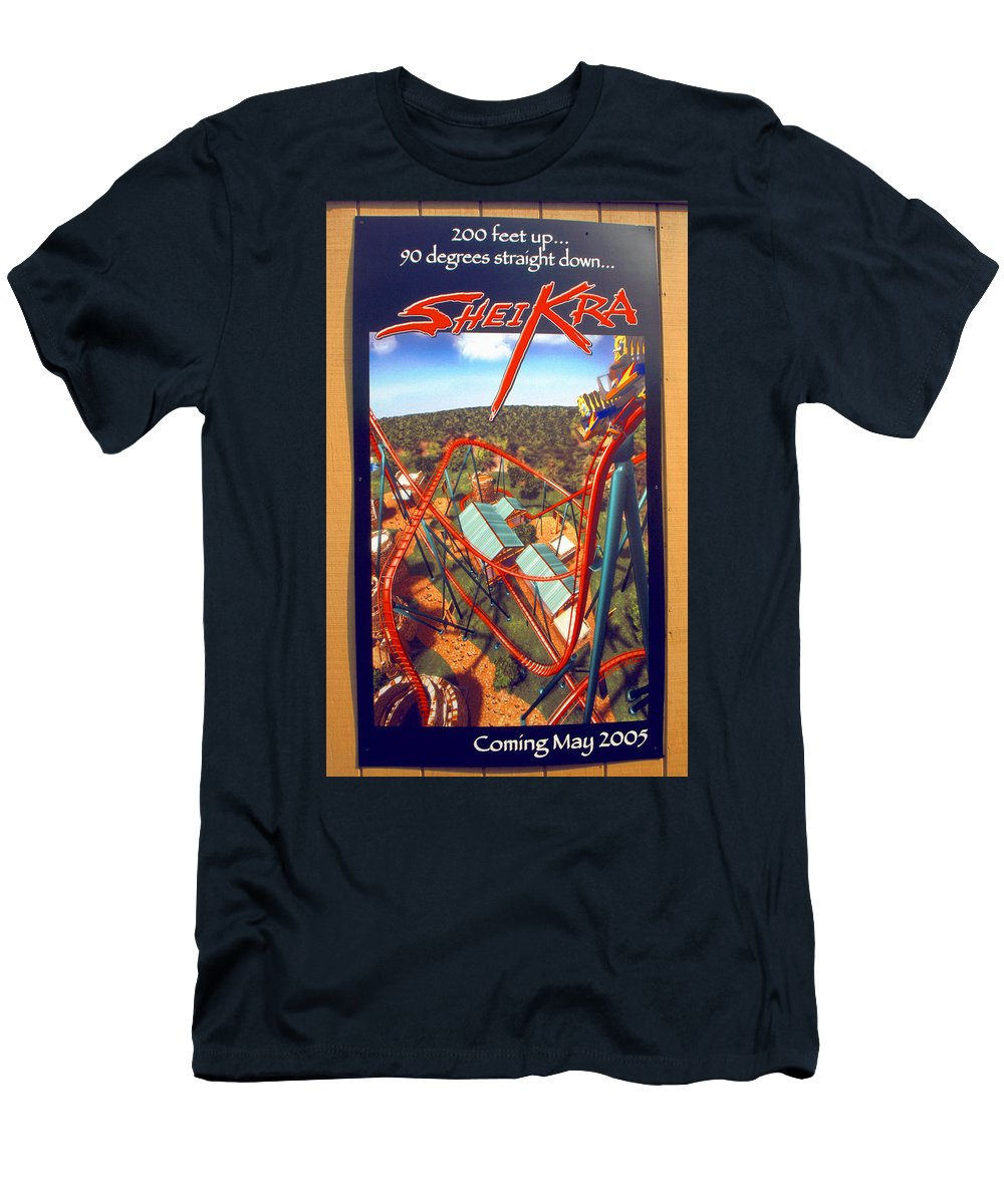 Sheikra Coaster Men's T-Shirt (Athletic Fit) featuring the photograph Sheikra Ride Poster 2 by David Lee Thompson