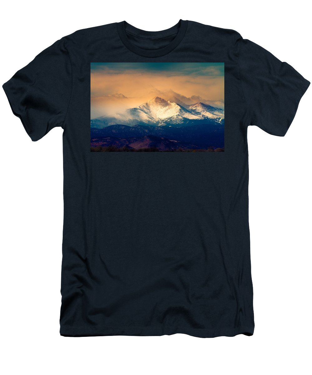 Longs Peak Men's T-Shirt (Athletic Fit) featuring the photograph She'll Be Coming Around The Mountain by James BO Insogna