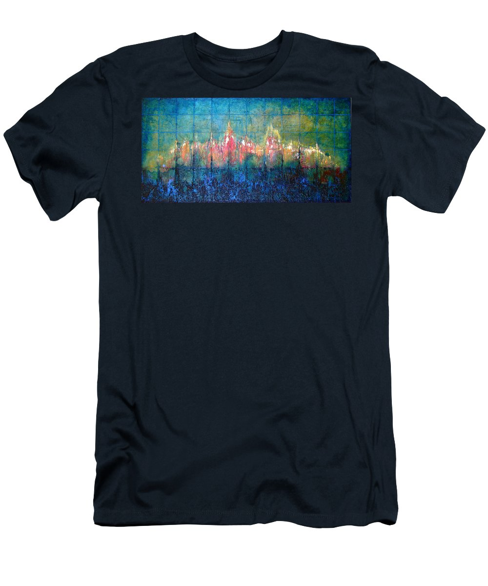 Seascape Men's T-Shirt (Athletic Fit) featuring the painting Shorebound by Shadia Derbyshire