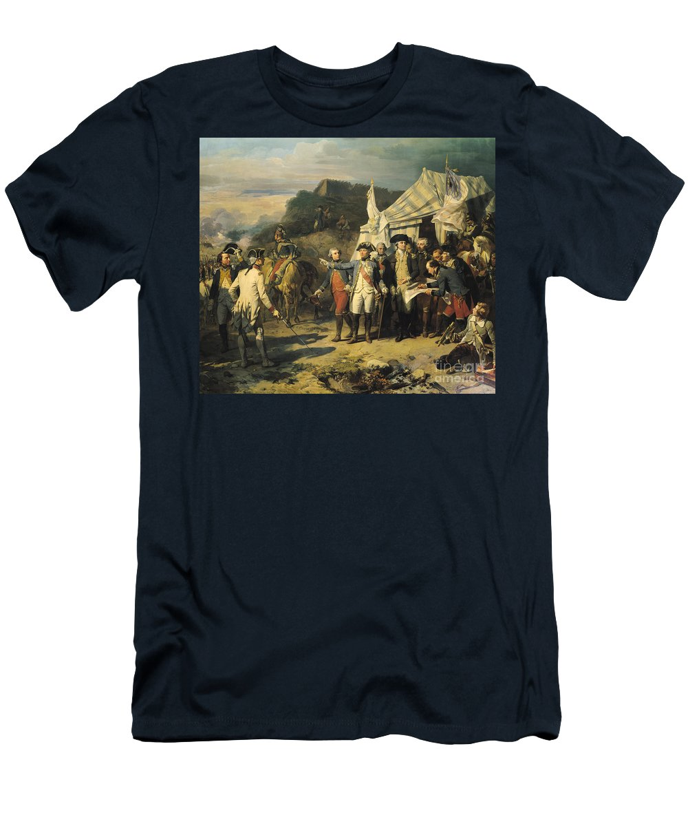 Siege T-Shirt featuring the painting Siege Of Yorktown by Louis Charles Auguste Couder