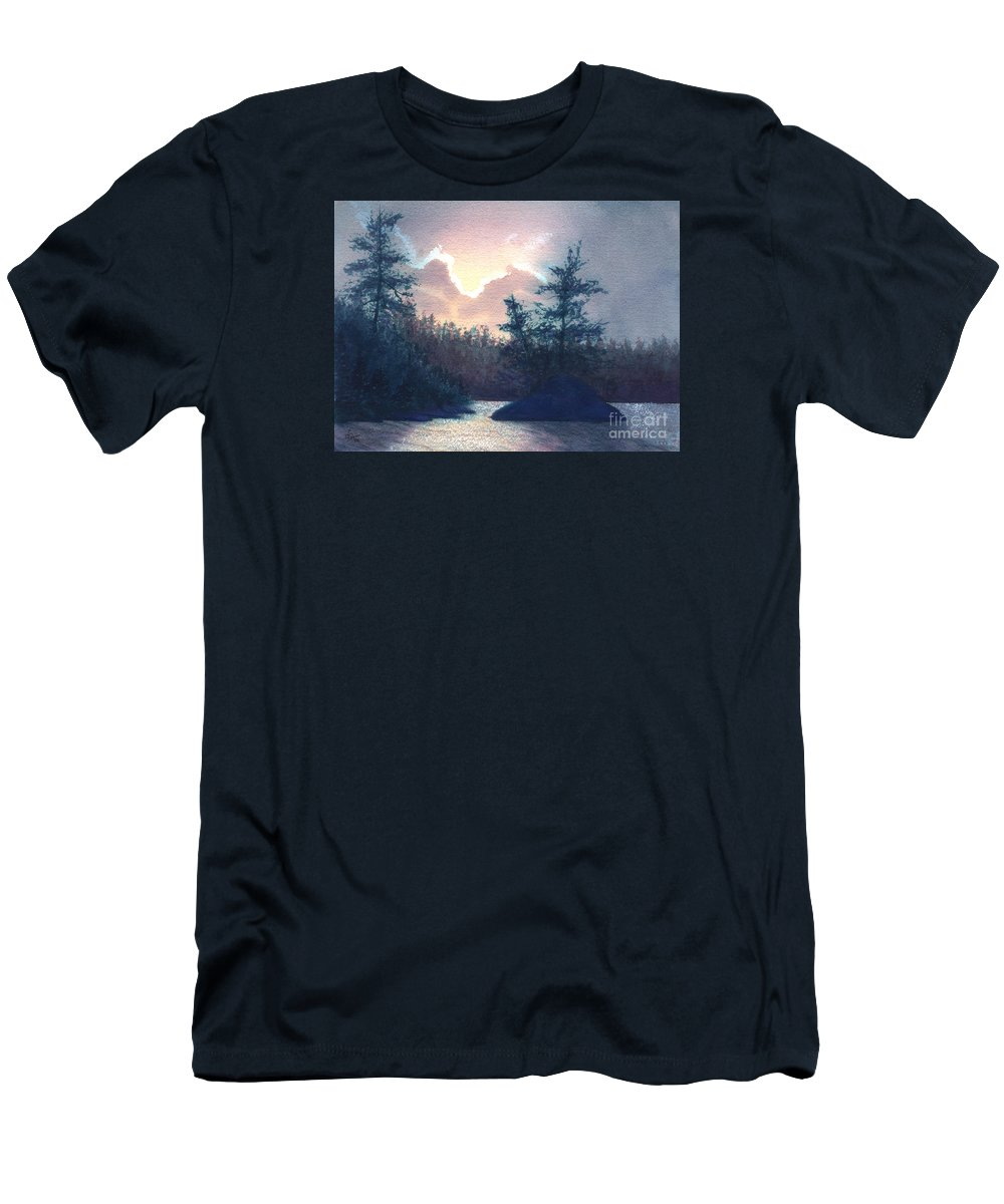 Landscape Men's T-Shirt (Athletic Fit) featuring the painting Silver Lining by Lynn Quinn