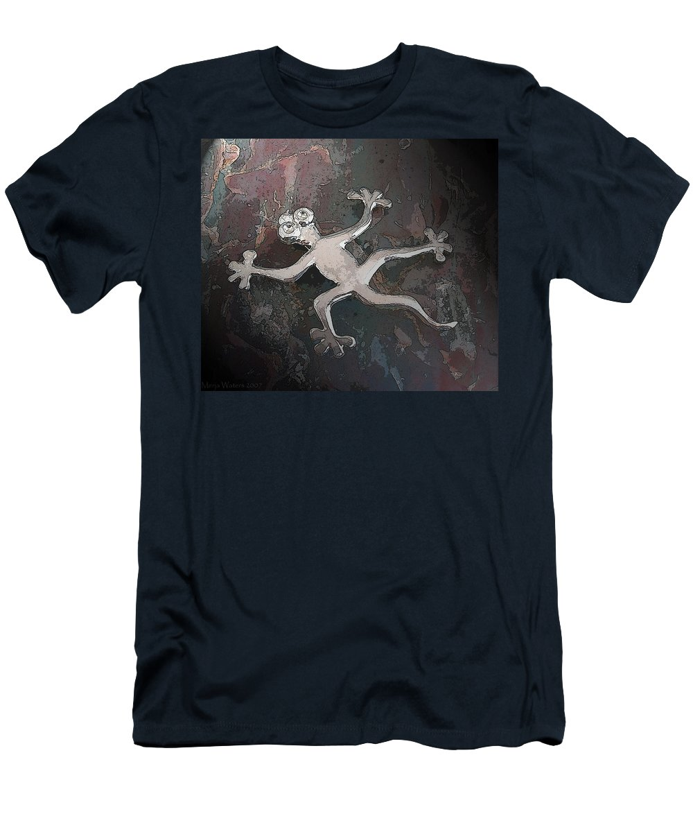 Silver Men's T-Shirt (Athletic Fit) featuring the digital art Silver Lizard by Merja Waters