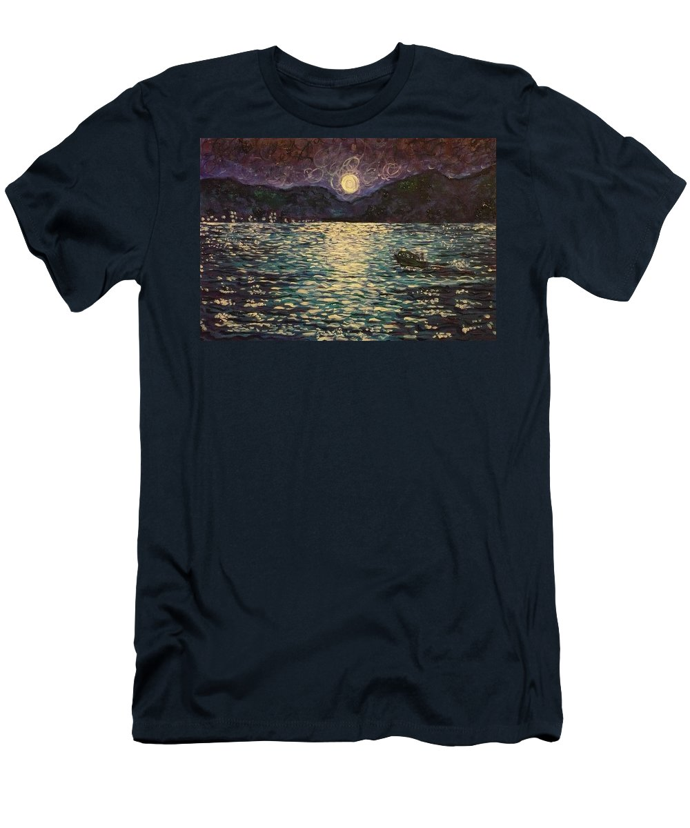 Landscape Men's T-Shirt (Athletic Fit) featuring the painting Silver Sea by Ericka Herazo