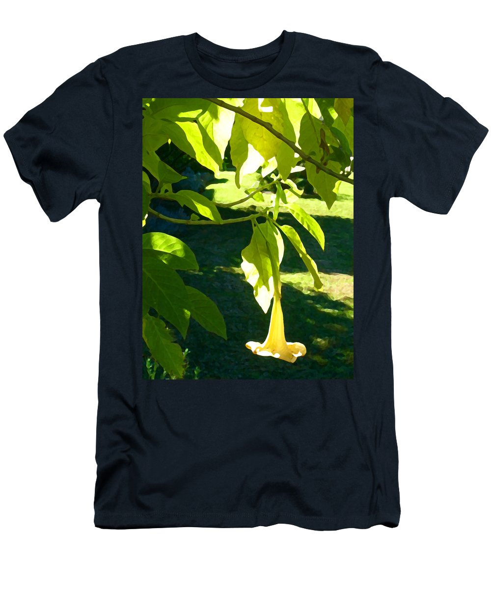 Spring Men's T-Shirt (Athletic Fit) featuring the painting Single Angel's Trumpet by Amy Vangsgard