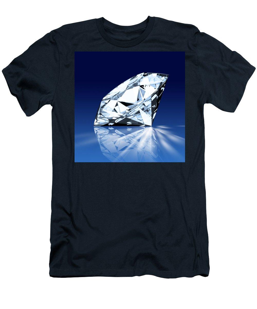 Background Men's T-Shirt (Athletic Fit) featuring the photograph Single Blue Diamond by Setsiri Silapasuwanchai