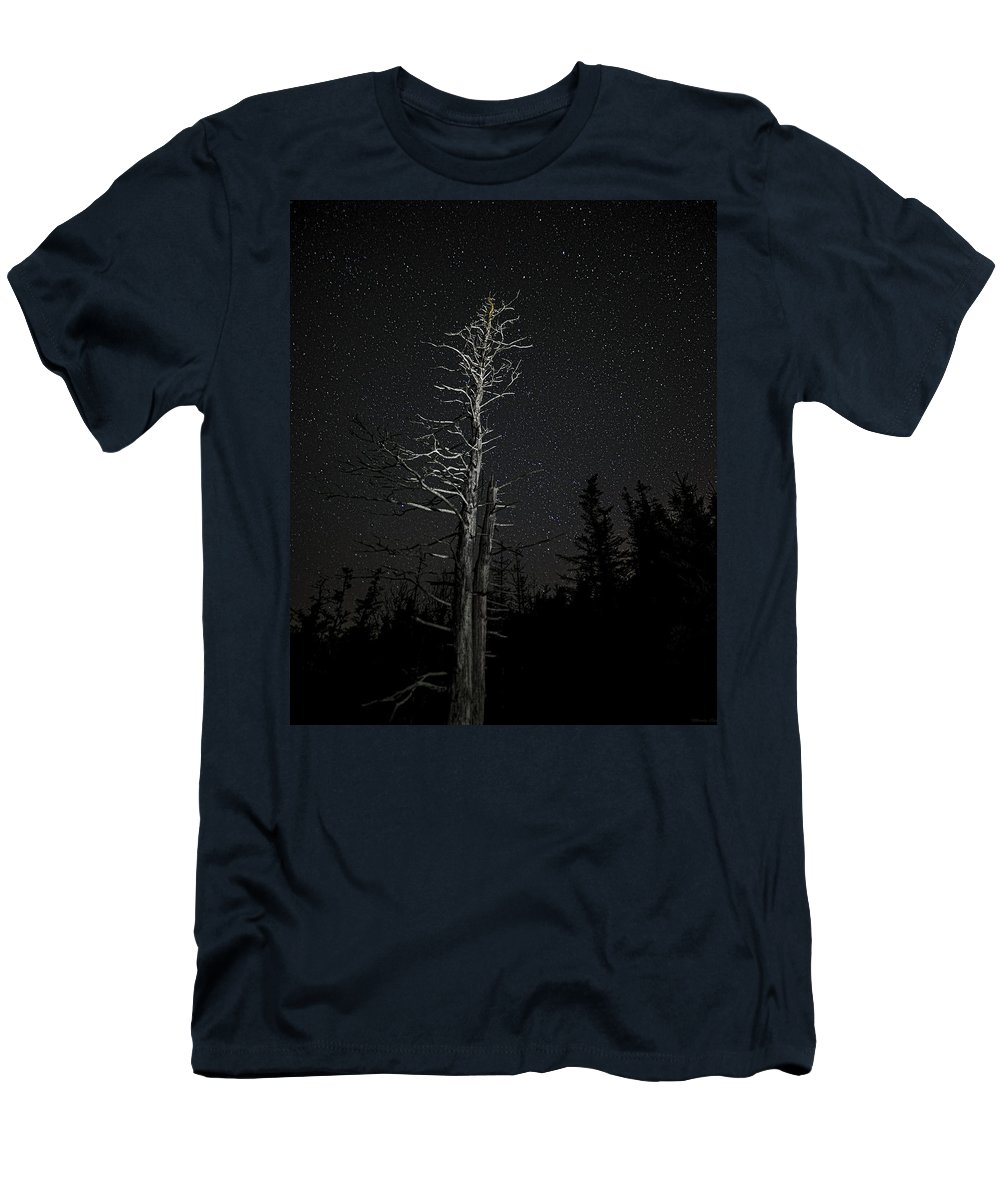 Skeletal Tree Starscape Men's T-Shirt (Athletic Fit) featuring the photograph Skeletal Tree Starscape by Marty Saccone