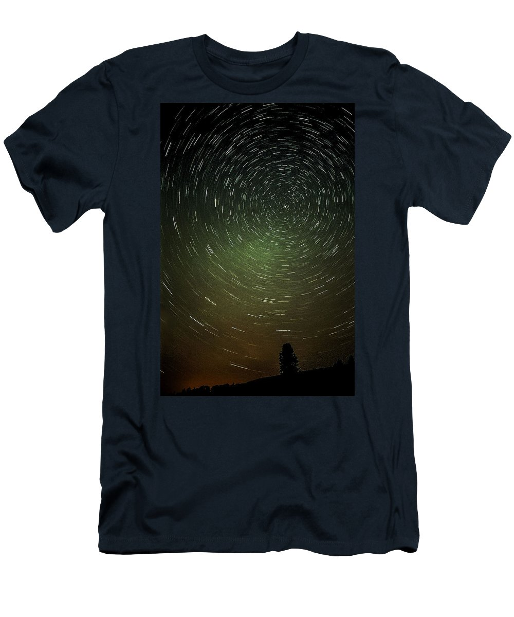Star Trails Men's T-Shirt (Athletic Fit) featuring the photograph Smoky Starry Skies by Teresa Herlinger