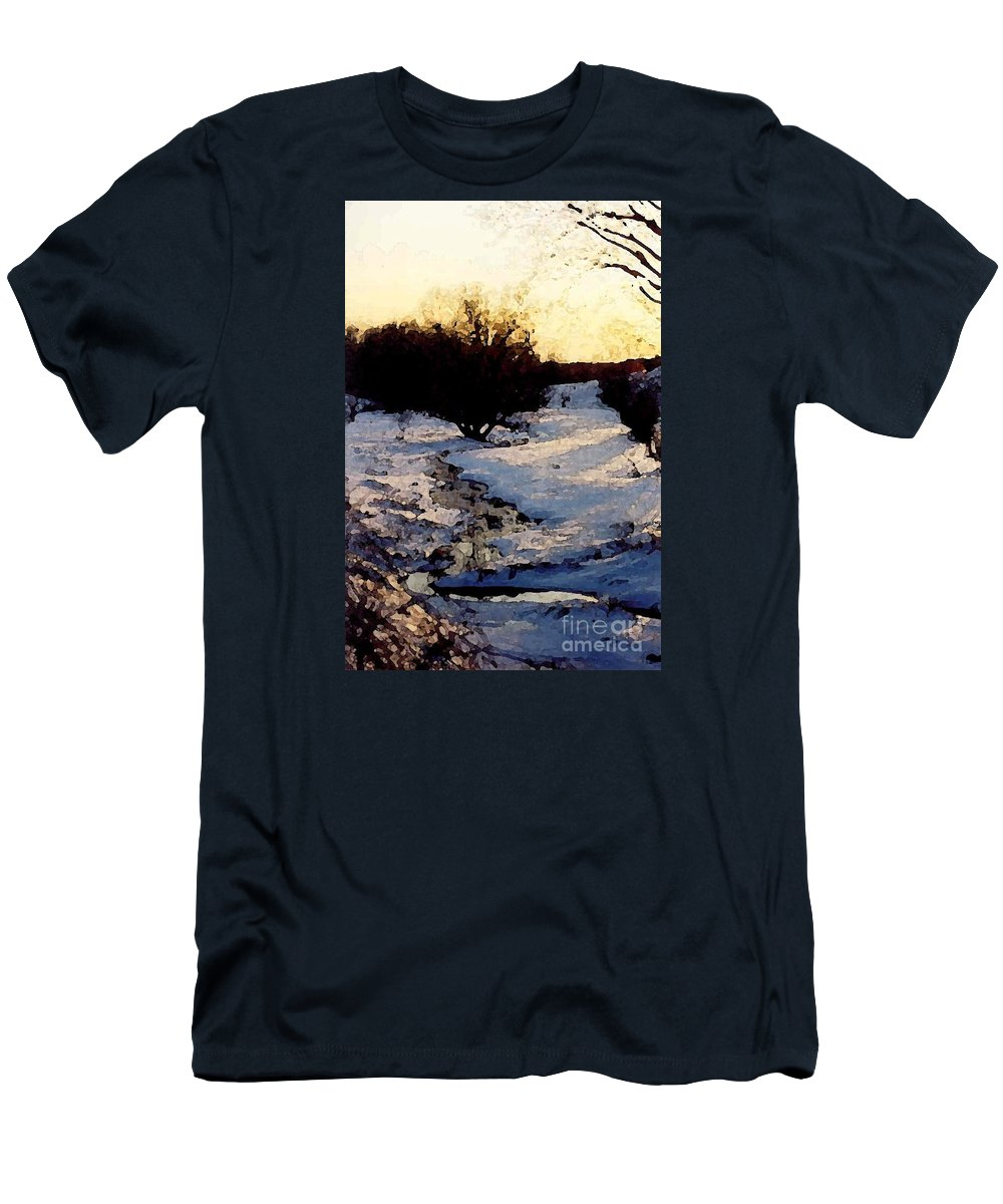 Winter Men's T-Shirt (Athletic Fit) featuring the digital art Snowmelt by Mendy Pedersen