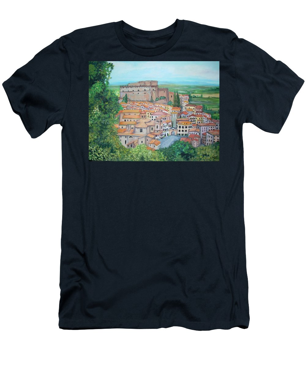Soriano Men's T-Shirt (Athletic Fit) featuring the painting Soriano Nel Cimino by Teresa Dominici