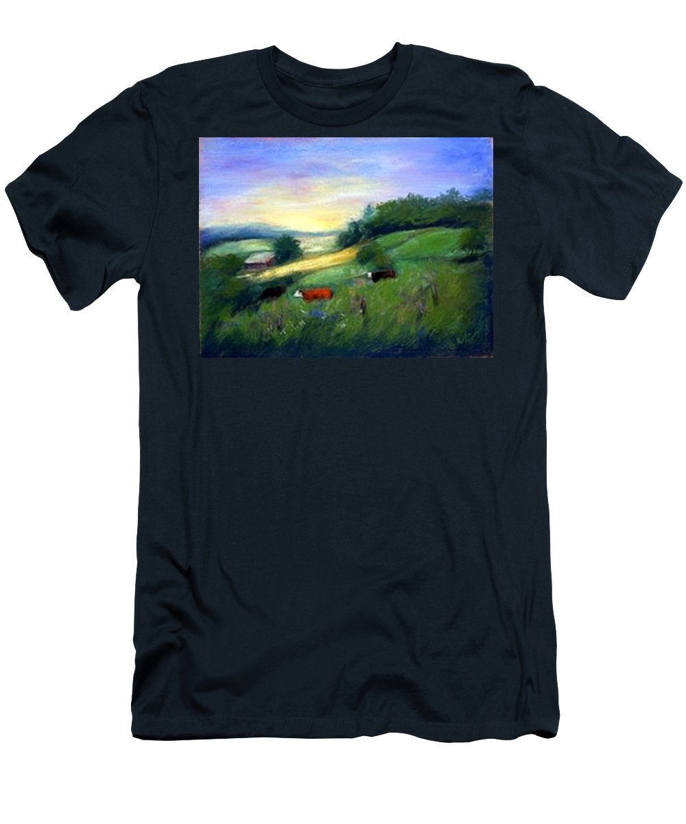 Landscape Men's T-Shirt (Athletic Fit) featuring the painting Southern Ohio Farm by Gail Kirtz