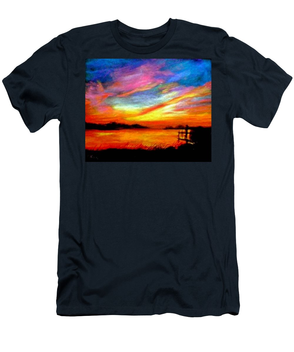 Sunset Men's T-Shirt (Athletic Fit) featuring the painting Southern Sunset by Gail Kirtz