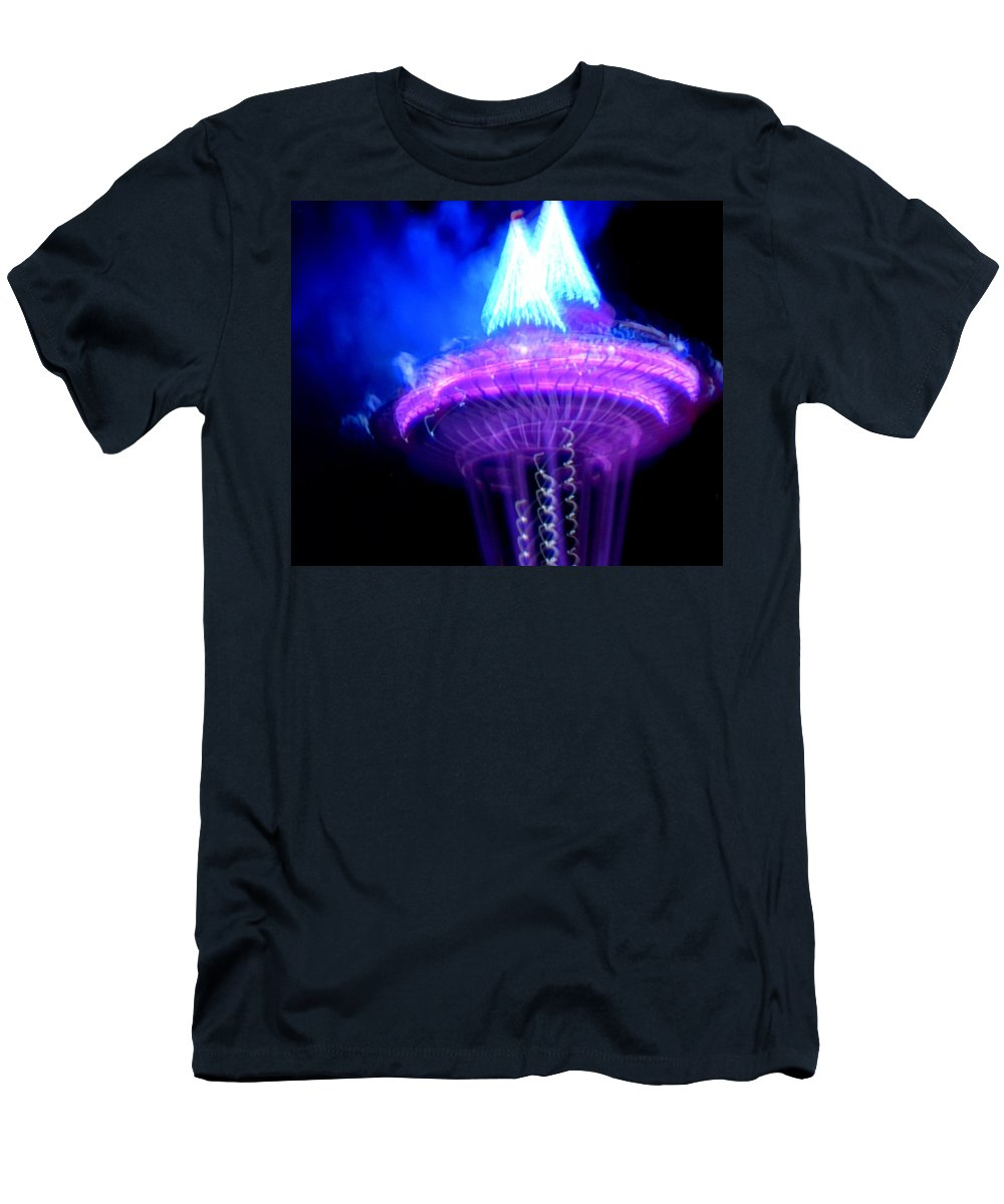 January Men's T-Shirt (Athletic Fit) featuring the photograph Space Needle Fireworks by Maro Kentros