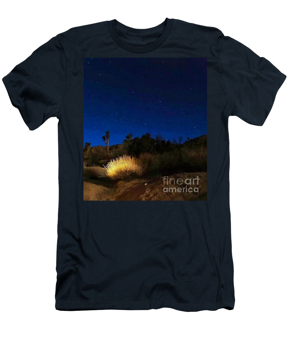 Desert Moon Men's T-Shirt (Athletic Fit) featuring the photograph Special Glow by Angela J Wright