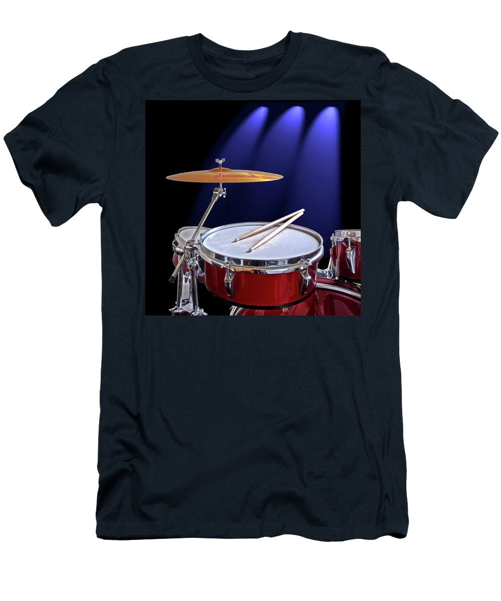 Music T-Shirt featuring the photograph Spotlight on Drums by Gill Billington