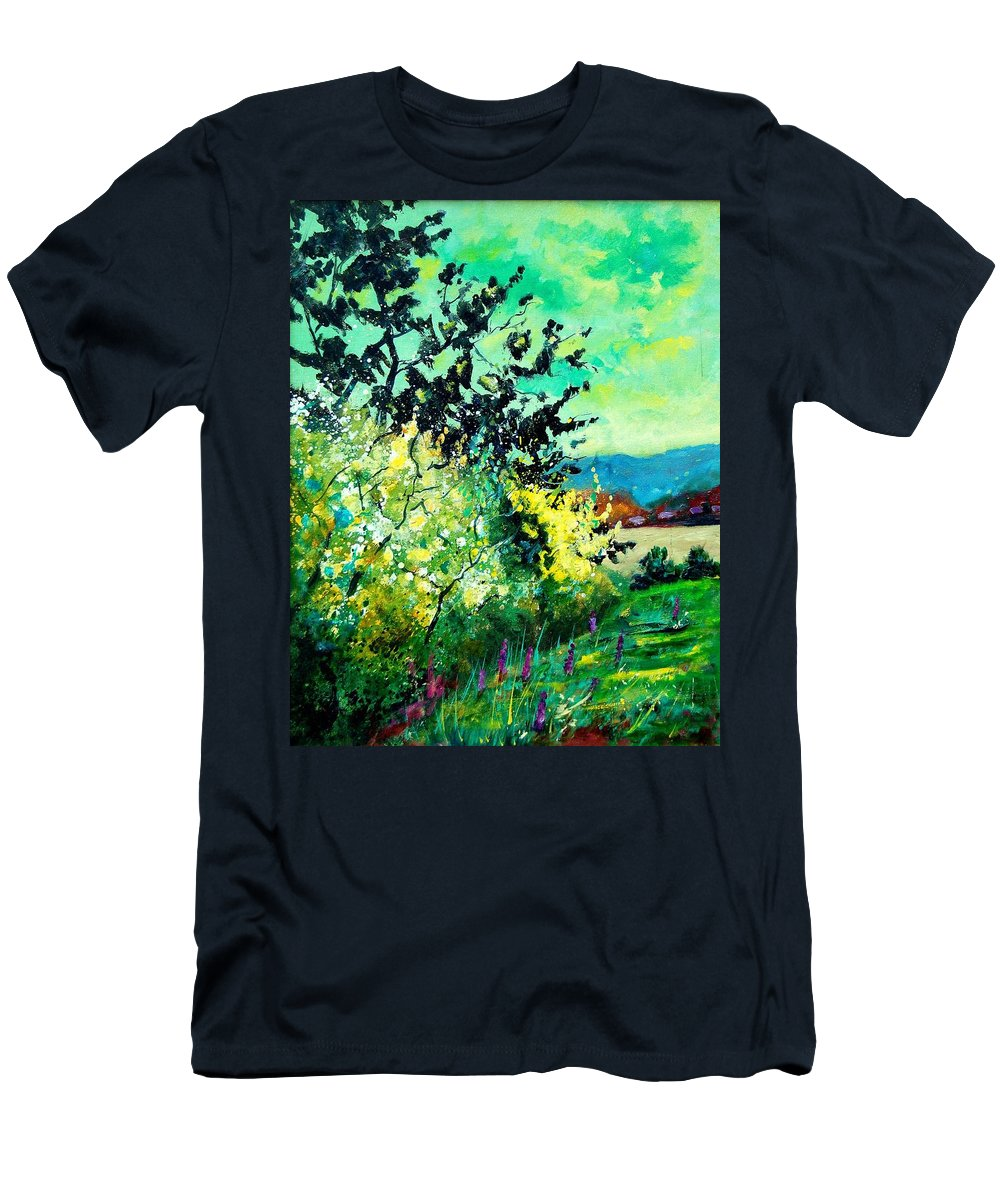 Spring Men's T-Shirt (Athletic Fit) featuring the painting spring in Ciergnon by Pol Ledent
