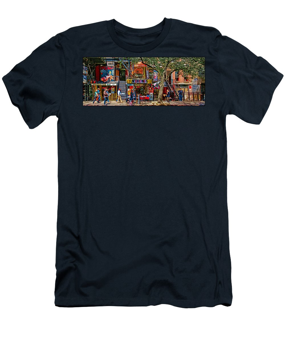 St. Mark's Place Men's T-Shirt (Athletic Fit) featuring the photograph St Marks Place by Chris Lord