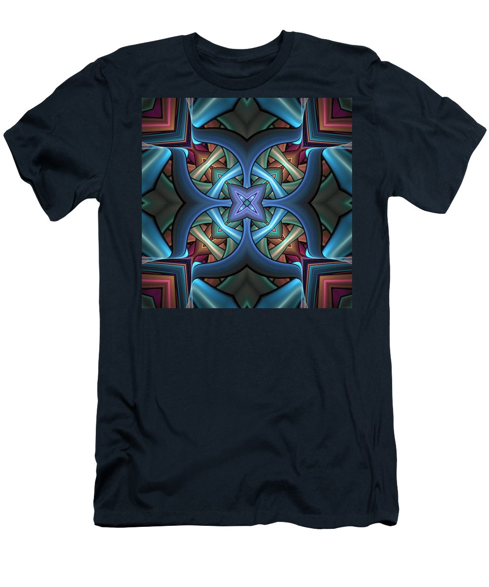 Digital Art Men's T-Shirt (Athletic Fit) featuring the digital art Stacked Kaleidoscope by Amanda Moore