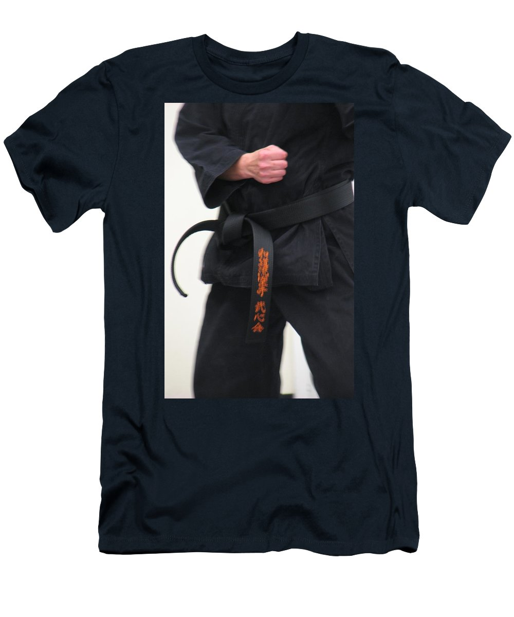 Karate Men's T-Shirt (Athletic Fit) featuring the photograph Stands With Fist by Kelly Mezzapelle