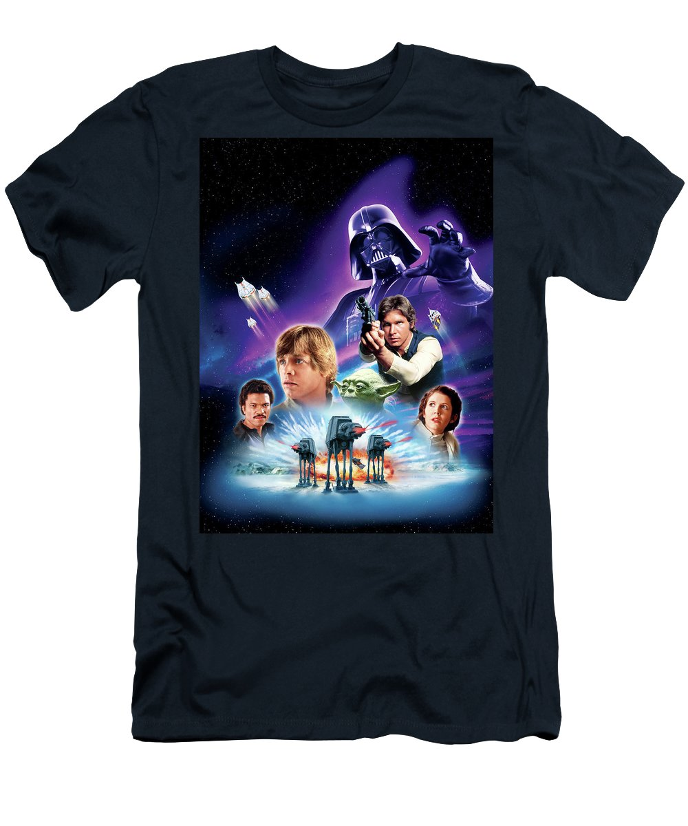 Star Wars T-Shirt featuring the digital art Star Wars Episode V - The Empire Strikes Back 1980 by Geek N Rock