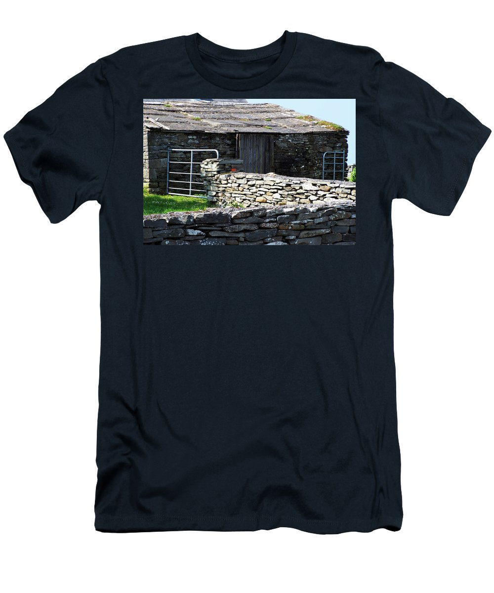Irish Men's T-Shirt (Athletic Fit) featuring the photograph Stone Barn Doolin Ireland by Teresa Mucha