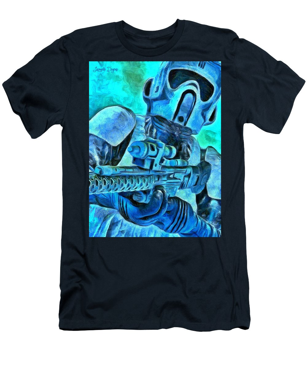 Oxygen Mask Men's T-Shirt (Athletic Fit) featuring the painting Stormtrooper And Weapon - Pa by Leonardo Digenio