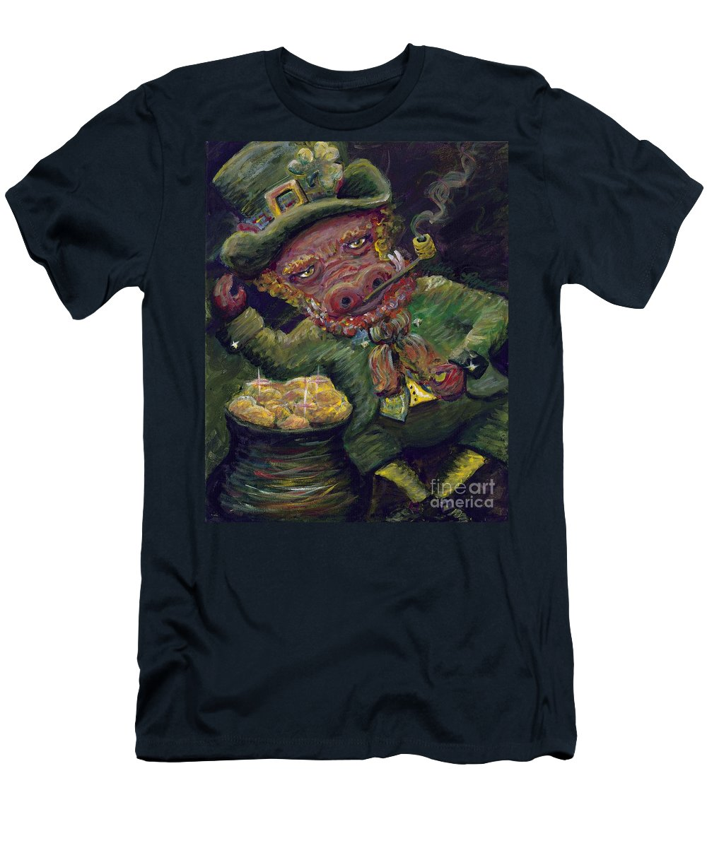 Hog Men's T-Shirt (Athletic Fit) featuring the painting St.patricks Day Pig by Nadine Rippelmeyer