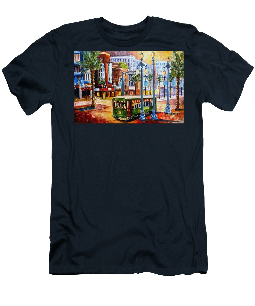 New Orleans Paintings Men's T-Shirt (Athletic Fit) featuring the painting Streetcar On Canal Street by Diane Millsap