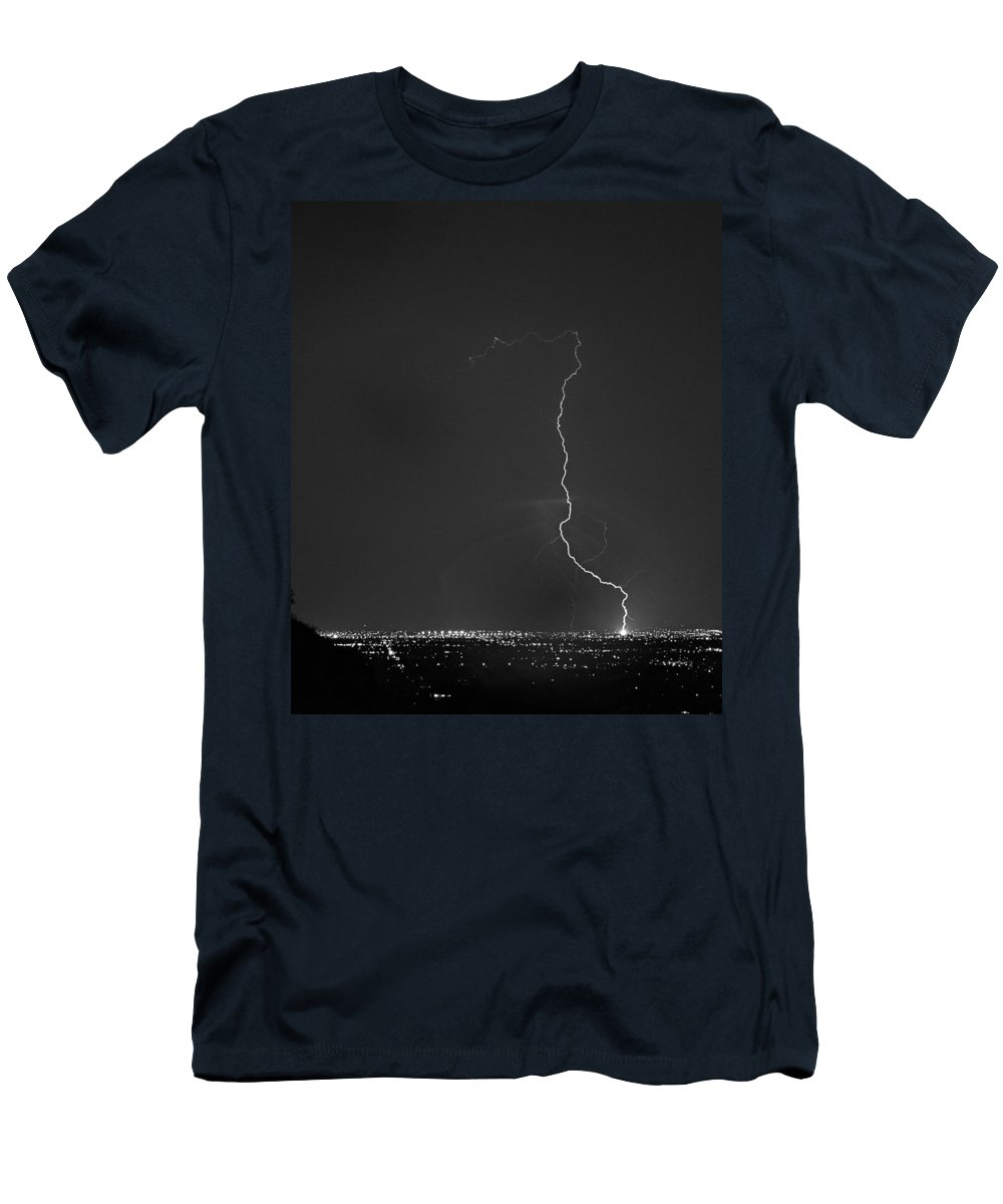 Lightning Men's T-Shirt (Athletic Fit) featuring the photograph Strike On The City. by James BO Insogna