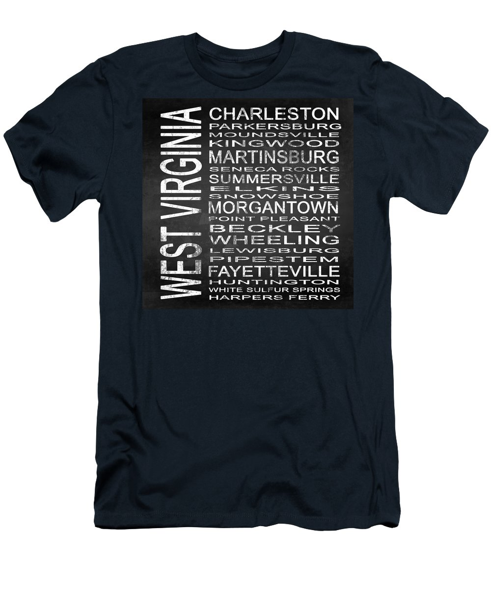 Subway Sign Men's T-Shirt (Athletic Fit) featuring the digital art Subway West Virginia State Square by Melissa Smith