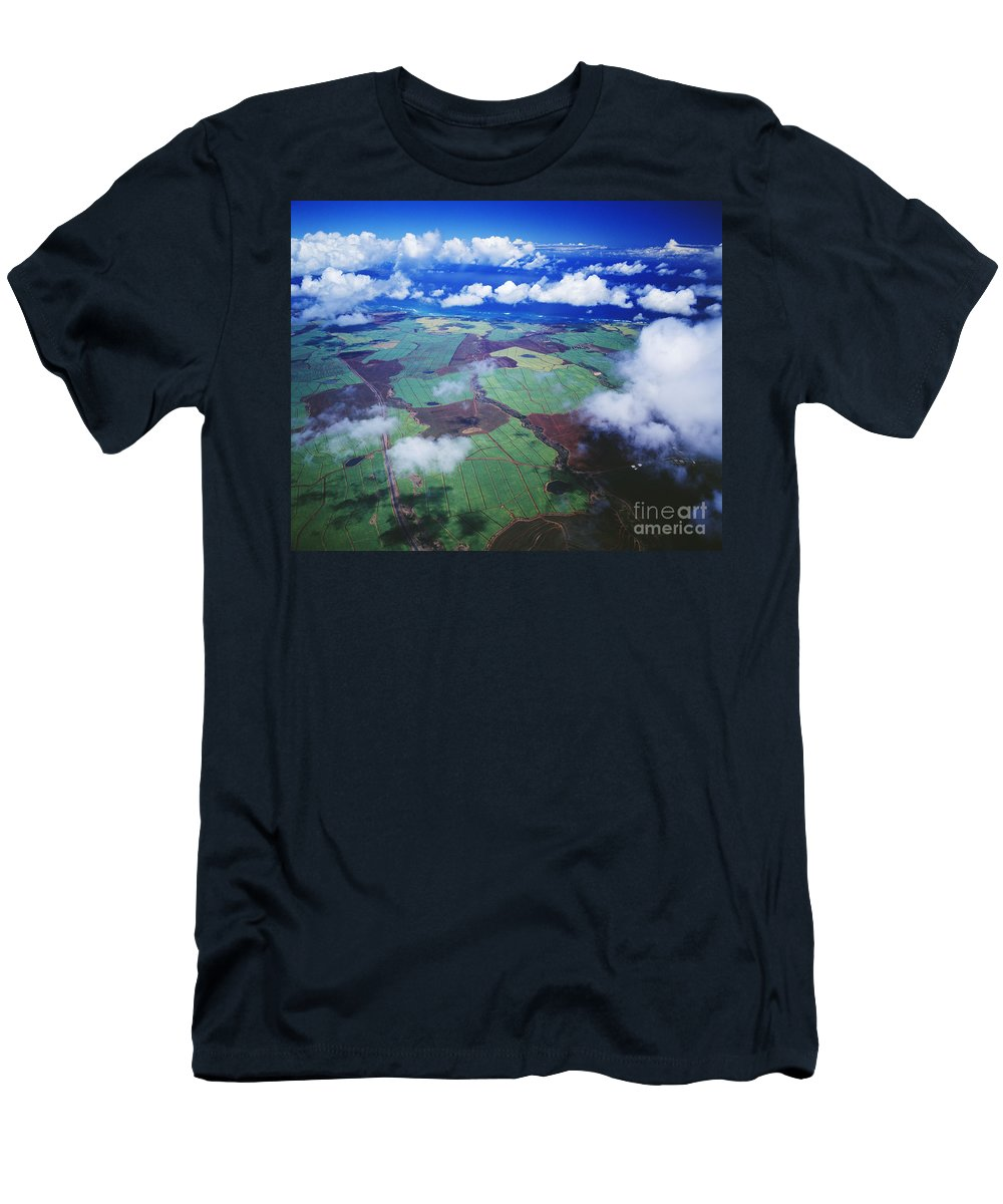 Above Men's T-Shirt (Athletic Fit) featuring the photograph Sugarcane Fields In Central Maui by Ron Dahlquist - Printscapes
