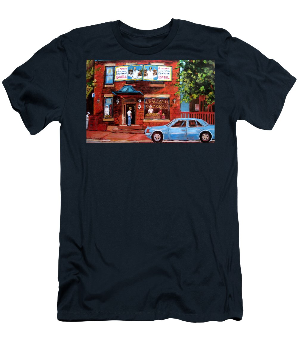 Fairmount Bagel Men's T-Shirt (Athletic Fit) featuring the painting Summer At Fairmount by Carole Spandau