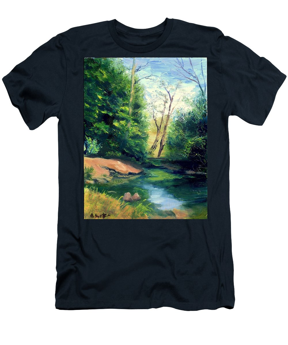 Landscape Men's T-Shirt (Athletic Fit) featuring the painting Summer At Storm by Gail Kirtz