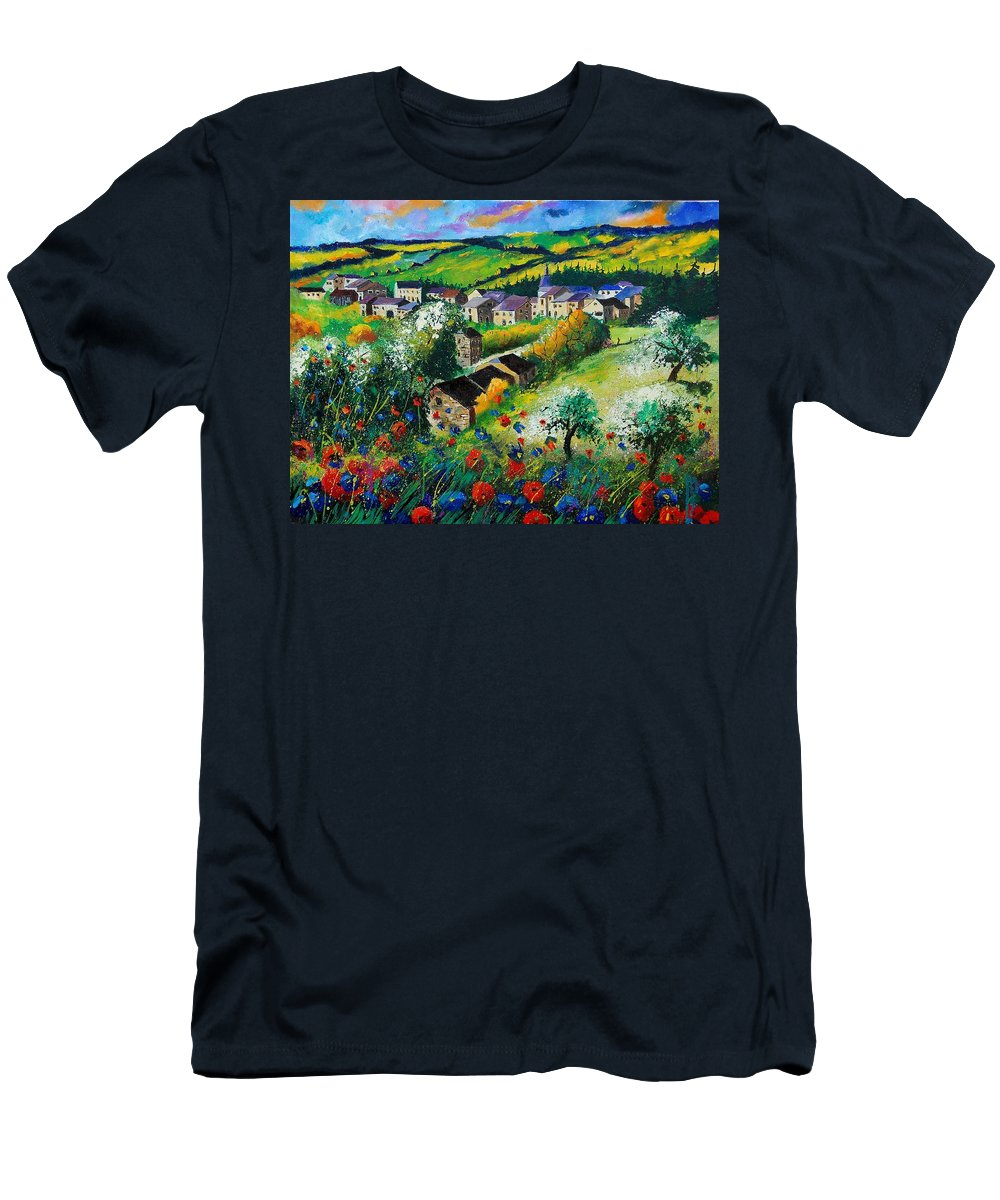 Poppies Men's T-Shirt (Athletic Fit) featuring the painting Summer In Rochehaut by Pol Ledent