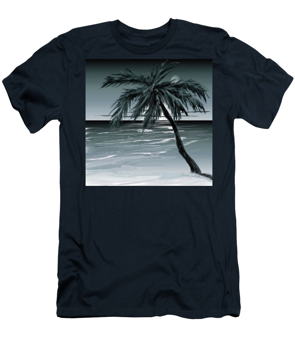 Water Beach Sea Ocean Palm Tree Summer Breeze Moonlight Sky Night Men's T-Shirt (Athletic Fit) featuring the digital art Summer Night In Florida by Veronica Jackson